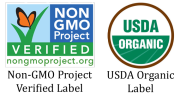 Non GMO project label and USDA Organic Label